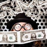 Fortune 500 businessman covered in US dollars