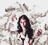 Dead business woman in financial crisis debt