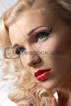 close-up portrait of cute blonde woman