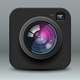 Color photo camera icon, vector Eps10 illustration.