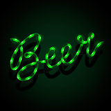 Glowing neon sign - Beer. Vector Eps10 illustration.