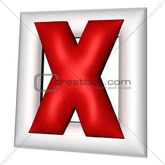 3d symbol of cross mark