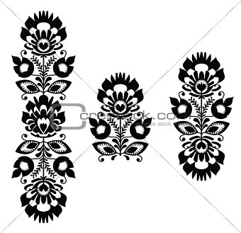 Folk embroidery - floral traditional polish pattern in black and white