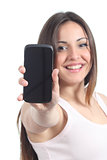 Woman showing a black mobile phone screen