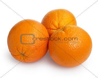three ripe round oranges