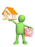 Puppet with piggy bank and house