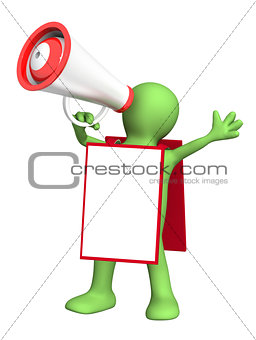 3d puppet with megaphone and message board