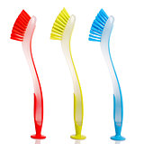 Colour dish washing brushes
