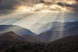 Appalachian Mountains Crepuscular Light Rays on Blue Ridge Parkway Ridges
