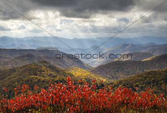 Scenic Autumn Blue Ridge Parkway Fall Foliage Crepuscular Light Rays