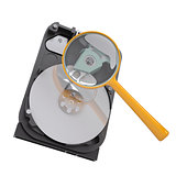 Hard disk under a magnifying glass