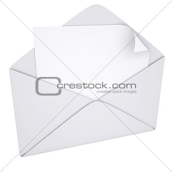 Sheet of paper in an envelope