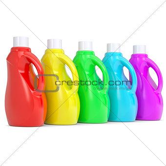 Several of multi-colored plastic bottles