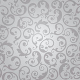 Seamless silver swirls floral wallpaper pattern
