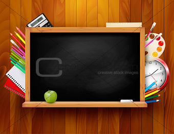 Blackboard with school supplies on wooden background. Vector ill