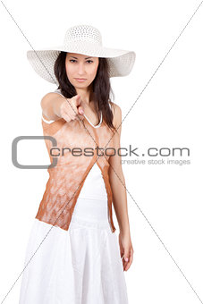 Woman in white sun hat