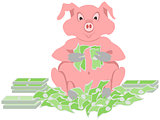 pig counting money