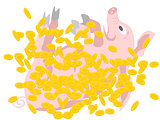 pig rolling in gold coins