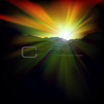 abstract background with sunset and mountains