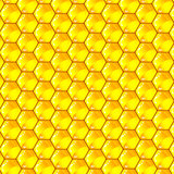 Golden  cells of a honeycomb pattern. Vector illustration.