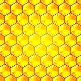 Golden  cells of a honeycomb pattern. Vector illustration.