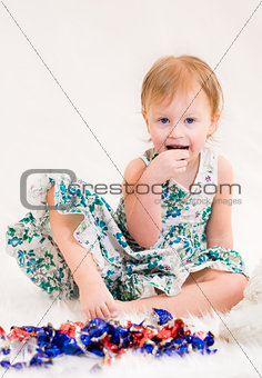 beautiful girl  eats candy