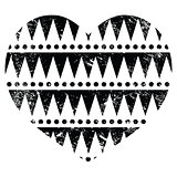 Aztec tribal pattern heart - retro, grunge style