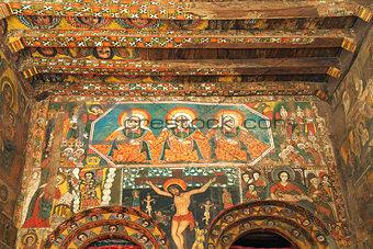 ancient church interior in gondar ethiopia