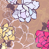 Vector illustration of a background in flowers and butterflies