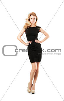 Beautiful Woman in Black Dress Isolated on White