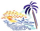 Palm, sunset and sea