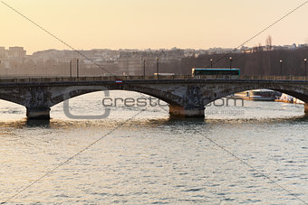 bridge in Paris on sunset