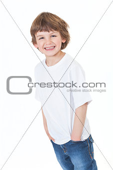 Young Happy Boy Smiling Hands in Pockets