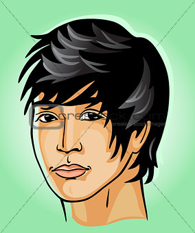 Portrait of the young man of the Mongoloid race
