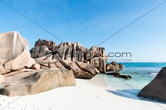 beautiful tropical beach La Digue island
