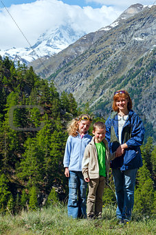 Family  and summer Matterhorn mountain (Alps)