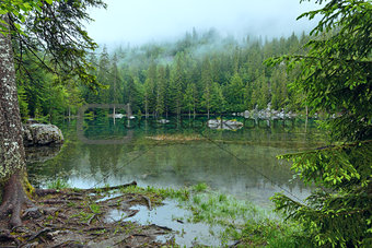 Small mountain forest lake.