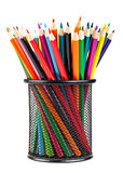 Various color pencils in metal container