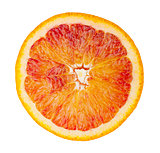 Slice of blood red ripe orange