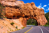 Red Arch road tunnel on the way to Bryce Canyon National Park,Utah,USA