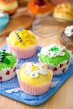 cup cakes with a lot of bread pastry background