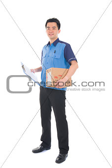 asian delivery dispatch boy delivering a package isolated agains