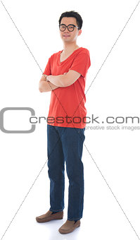 casual asian chinese man in full body with isolated white backgr