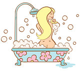 girl and bubble bath