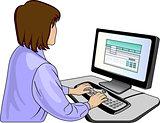 Woman near a computer