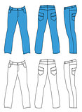 Blue man's jeans (front, back, side views)