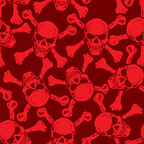 Vector. Evil skull with bones. Warning sign