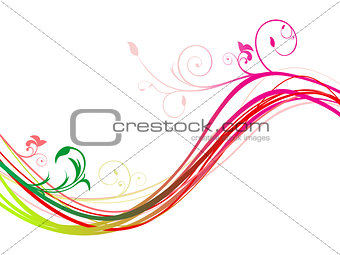 abstract rainbow floral wave