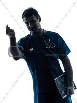 doctor man silhouette portrait gesturing money