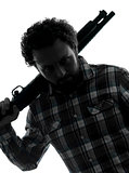 man serial killer with shotgun silhouette portrait